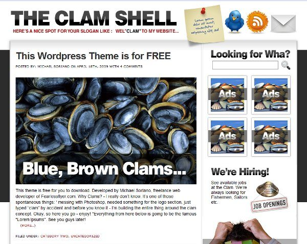The-Clam-Shell-free-WordPress-theme 10 Themes WordPress de diseños minimalistas, colores claros y modernos
