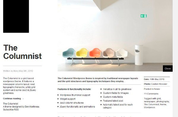 The-Columnist-free-WordPress-template 10 Themes WordPress de diseños minimalistas, colores claros y modernos
