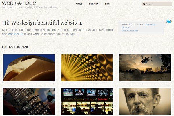 Work-a-holic-free-WordPress-theme 10 Themes WordPress de diseños minimalistas, colores claros y modernos
