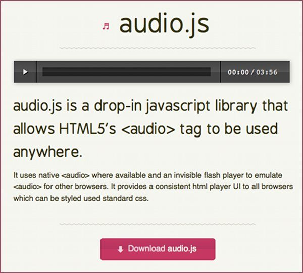 audio.js biblioteca Javascript para reproducir archivos mp3 con HTML5
