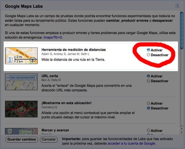 Google Maps - Opción para medir distancias