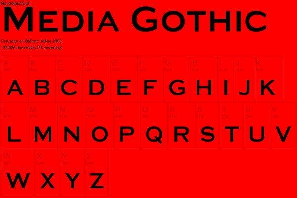 Media Gothic free font