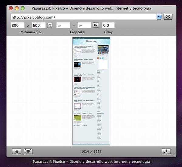 Paparazzi, aplicación gratis para Mac para capturas de pantallas