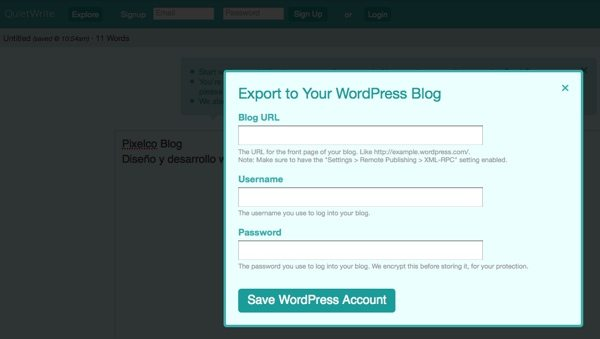 QuietWrite - Exportar-a-WordPress