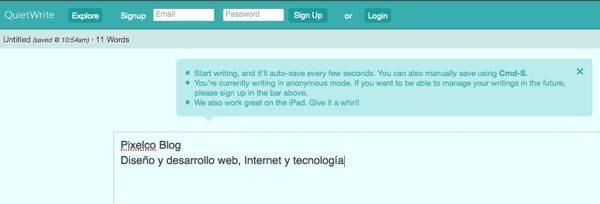 QuietWrite - procesador de texto online
