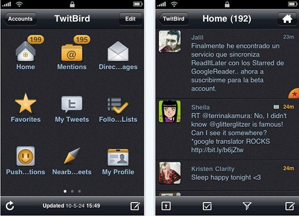 TwitBird - interfaz