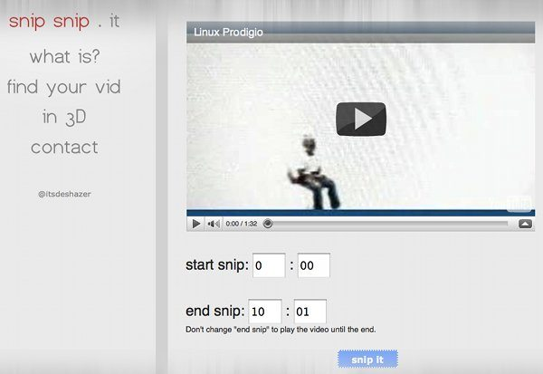 snipsnip.it - servicio online para recortar y compartir videos de Youtube