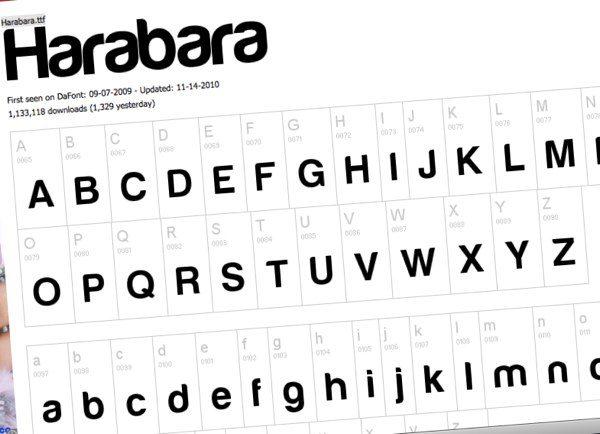 Harabara, fuente tipográfica gratuita
