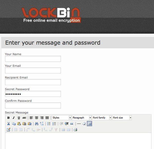 Lockbin - interfaz web