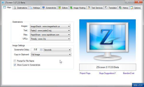 ZScreen - interfaz