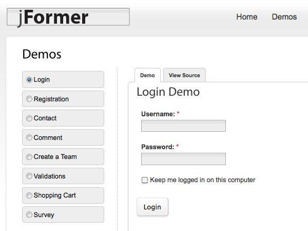 jFormer - framework jQuery para desarrollar formularios HTML