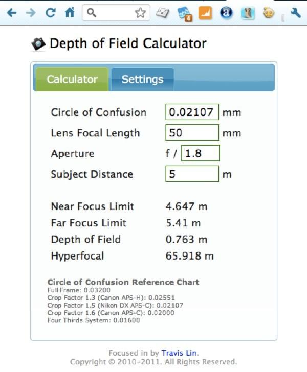 Doffy aplicación para calcular la profundidad de campo