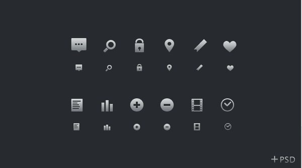 Glyphs+PSD colección de iconos monocromáticos gratuitas con fuentes en PSD