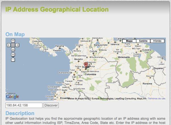 IP Address Geographical Localization - Herramienta online para geolocalización de IP