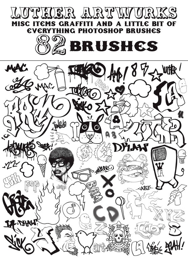 LA Misc Graffiti Brushes for Photoshop