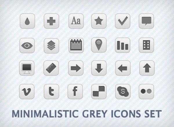 Minimalistic Grey - colección de iconos monocromáticos gratuitos
