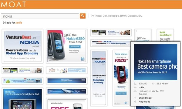Moat - buscador de anuncios gráficos