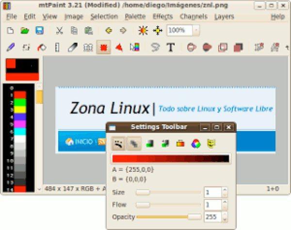 MtPaint editor de imágenes para Linux