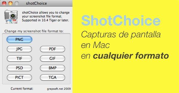 ShotChoice - Capturas de pantalla en Mac en cualquier formato