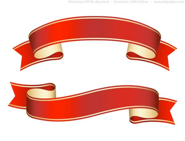 Curled red ribbon -banner en formato PSD