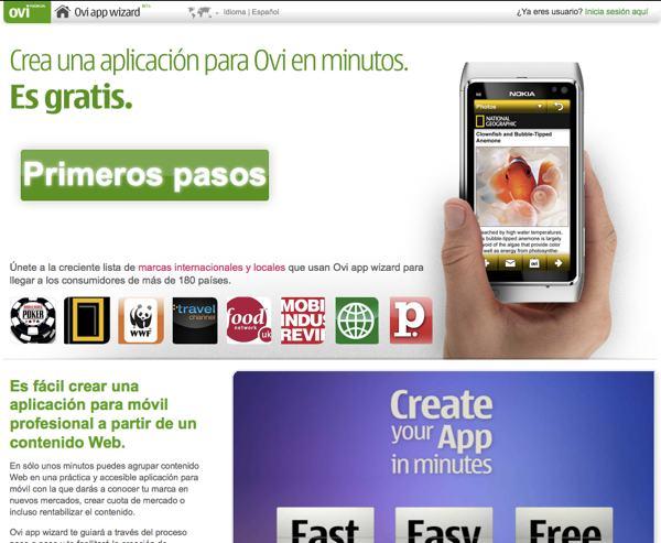 Ovi app wizard - herramienta online para crear aplicaciones para celulares con Symbian