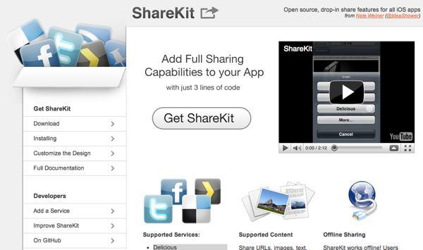 ShareKit herrramienta de desarrollo open source para iOS