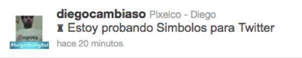 Simbolos para Twitter - ejemplo