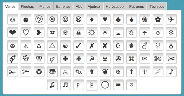 Simbolos para Twitter - muestra