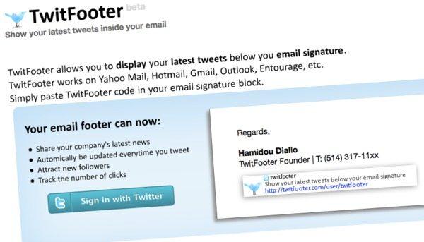 TwitFooter - Servicio online para mostrar tweets en el email