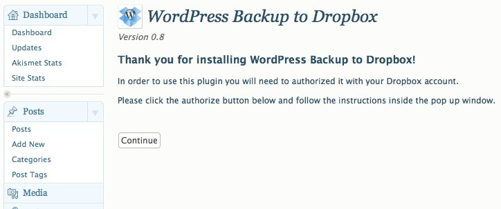 Plugin WordPress Backup to Dropbox