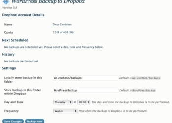 Wordpress Backup to dropbox - configuracion