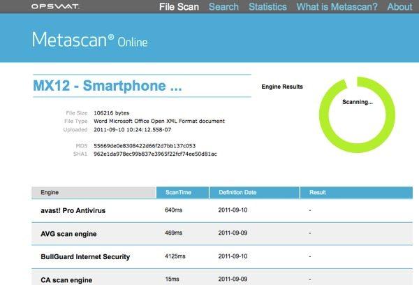 Metascan Online - escaneo