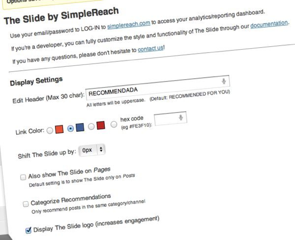Simplereach Slide - plugin WordPress