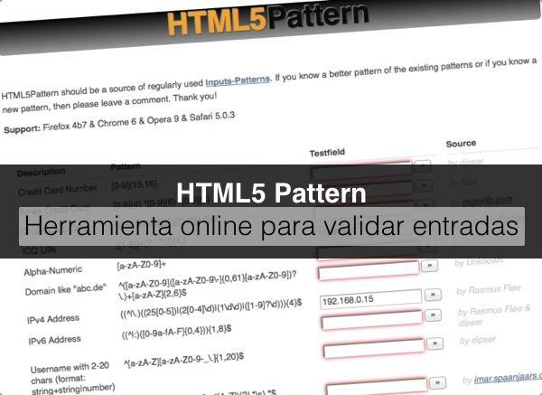 HTML5 Pattern herramienta para validar entradas