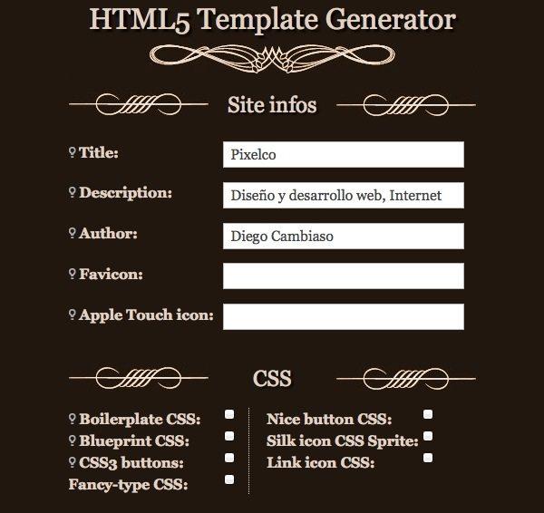HTML5 Template Generator - Herramienta online para desarrollo web