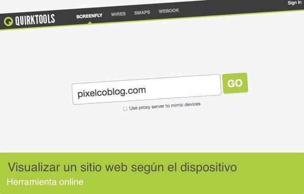 Quirktools - Herramienta para visualizar un sitio web en diferentes resoluciones
