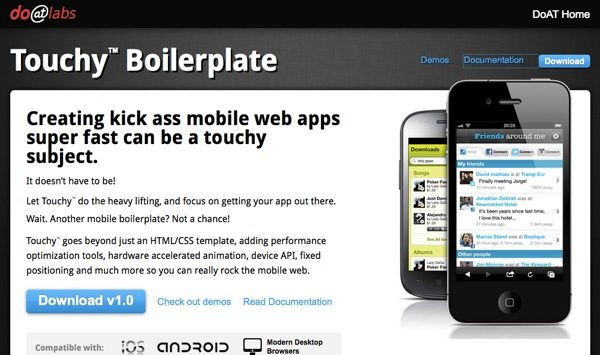 Touchy Boilerplate - Desarrollar aplicaciones moviles de un sitio web para Android, iOs y navegadores de escritorio