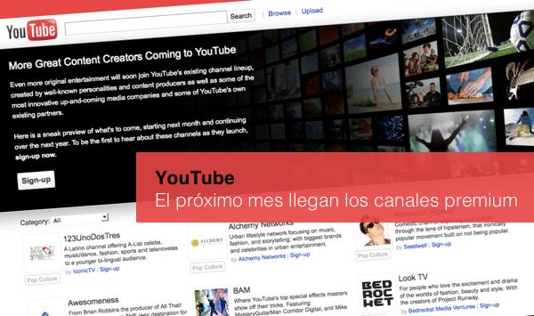 YouTube canales premium