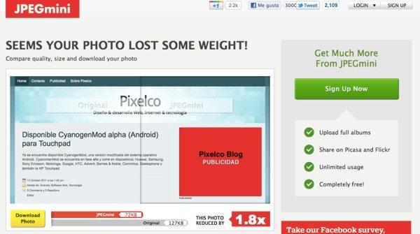 JPEGgmini - Herramienta online para optimizar imágenes