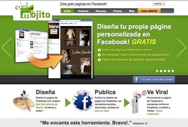 Coolmojito crear fan pages de Facebook gratis
