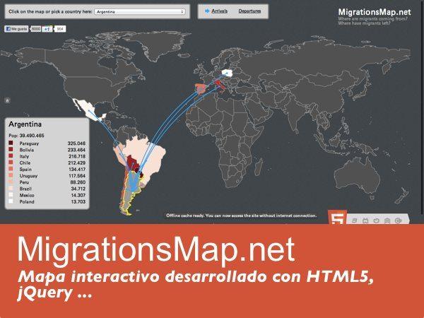Migrations Map - mapa interactivo desarrollado con HTML5 y jQuery
