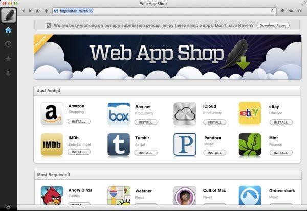 Raven, navegador web gratuito para Mac interfaz