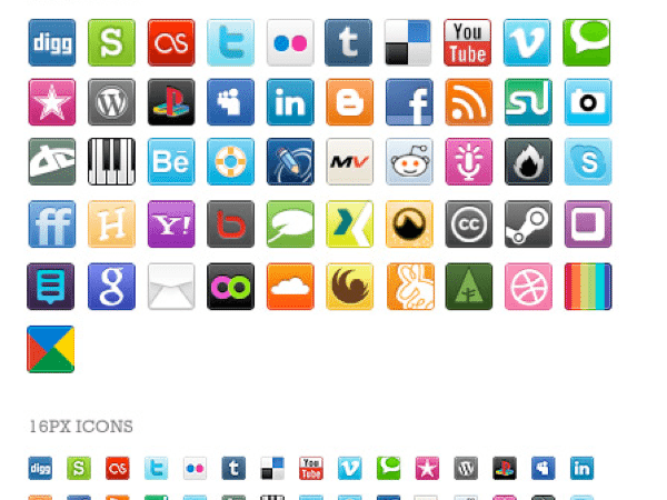 Social-Media-bookmark-icon-set 4 Colecciones de iconos sociales incluída Google+