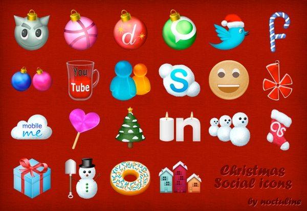 Christmas Social Icons - colección de iconos navideños gratuitos