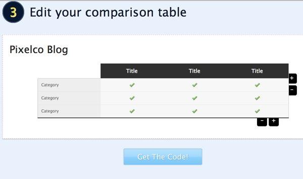 Compare Ninja - Editar tabla
