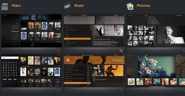 Plex Media Center - interfaz