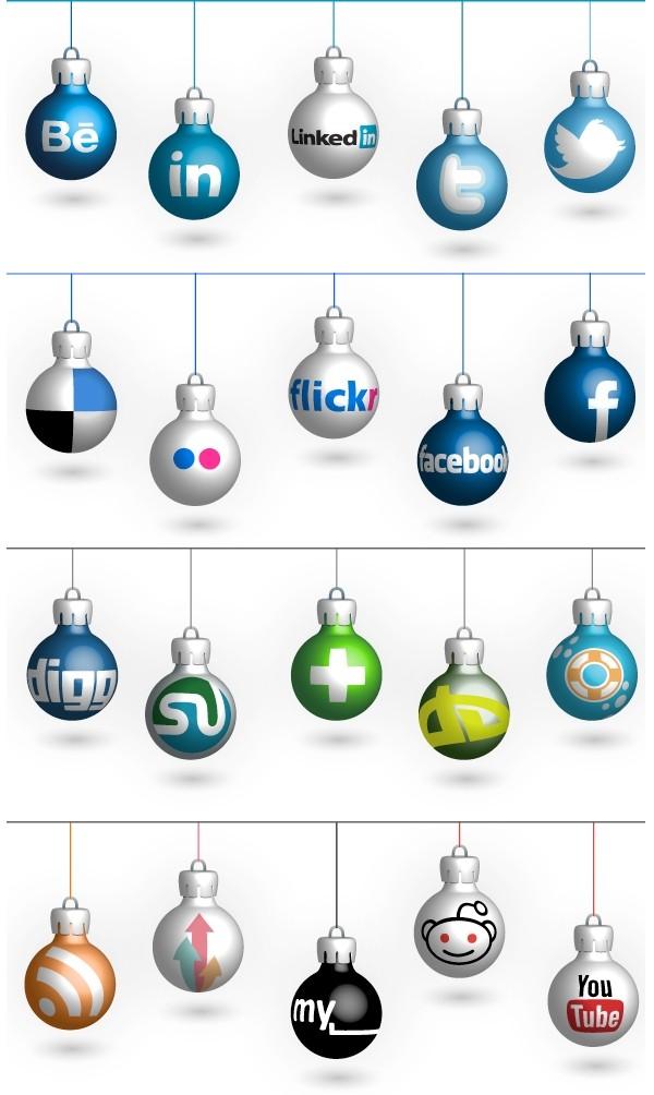 Social Icons 4 Christmas - iconos navideños de la redes sociales gratuitos