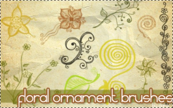 Floral-ornamente-brushes-Photoshop 6 Packs de Brushes ornamentales gratuitas para Photoshop (y GIMP)