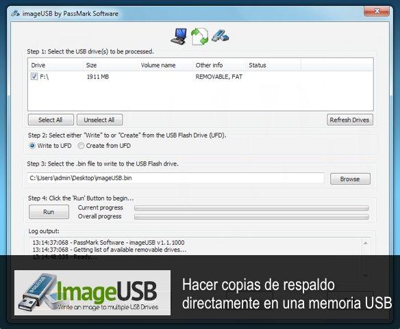 ImageUSB Interfaz - aplicacione gratuita para Windows