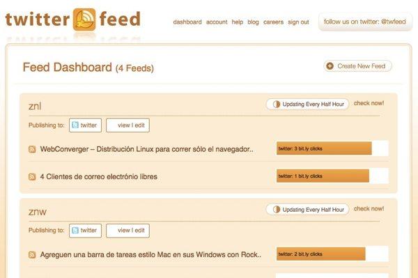 TwitterFeed servicio online para publicar contenido por RSS en las redes sociales